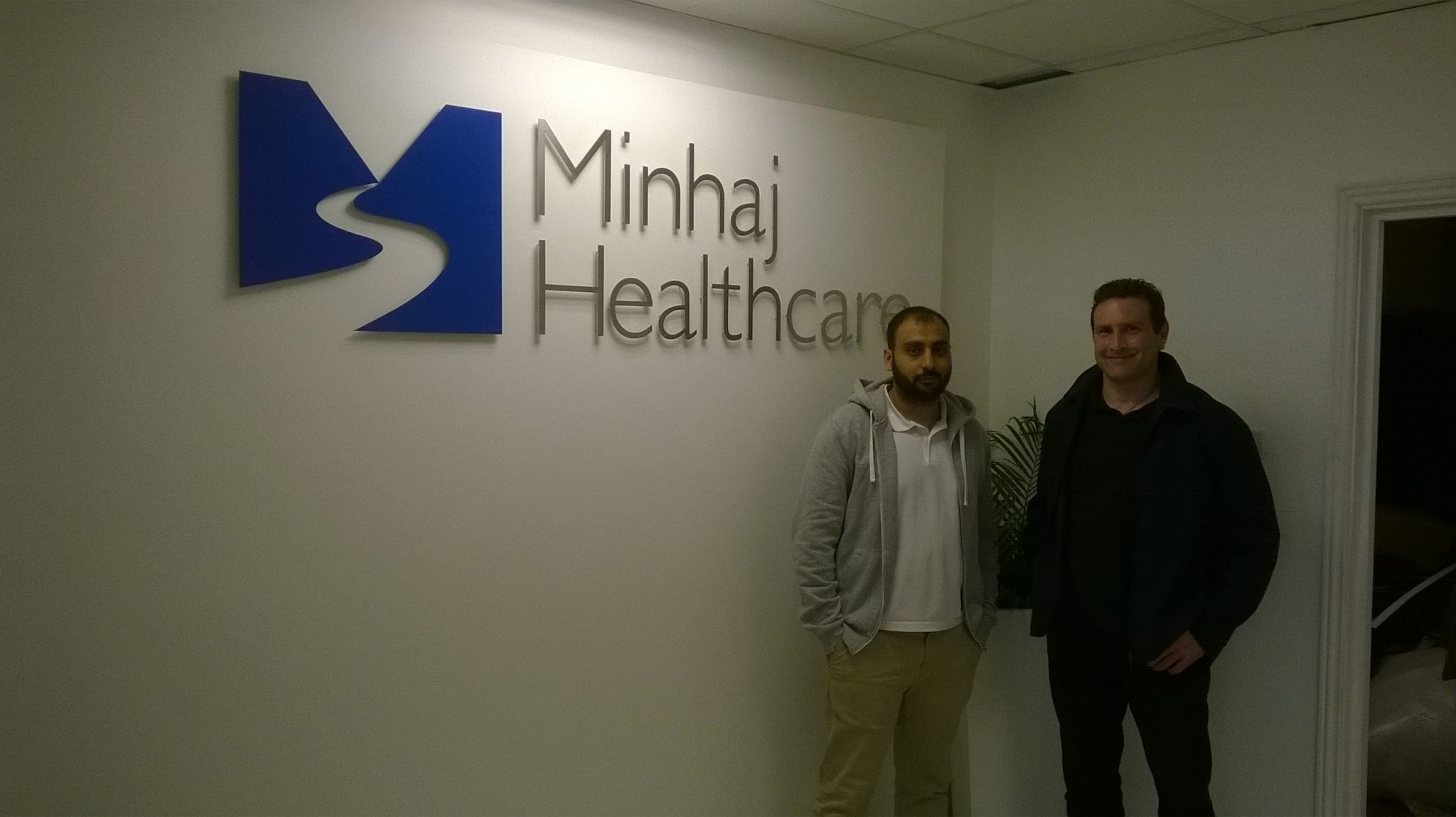 5mm deep stainless steel powdercoated signs made for Minhaj Healthcare in London by www.e-signs.co.uk