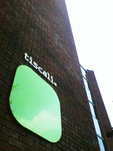 Tiscali vinyl perspex lettering on locators in Shepherd Bush London  www.e-signs.co.uk