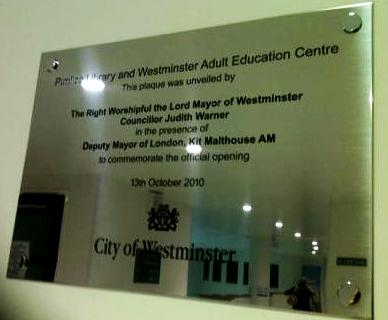Westminster City Council Engraved  plaque www.e-signs.co.uk