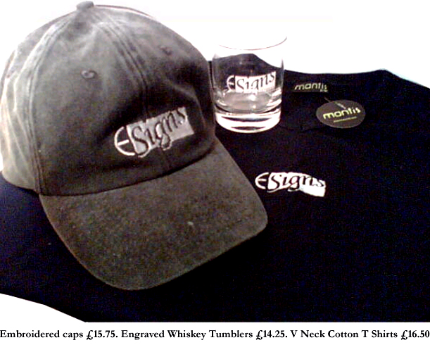 e signs caps and whisky tumbler merchandise T-shirts Wealth Managers repeatedly invest in E Signs ® www.e-signs.co.uk