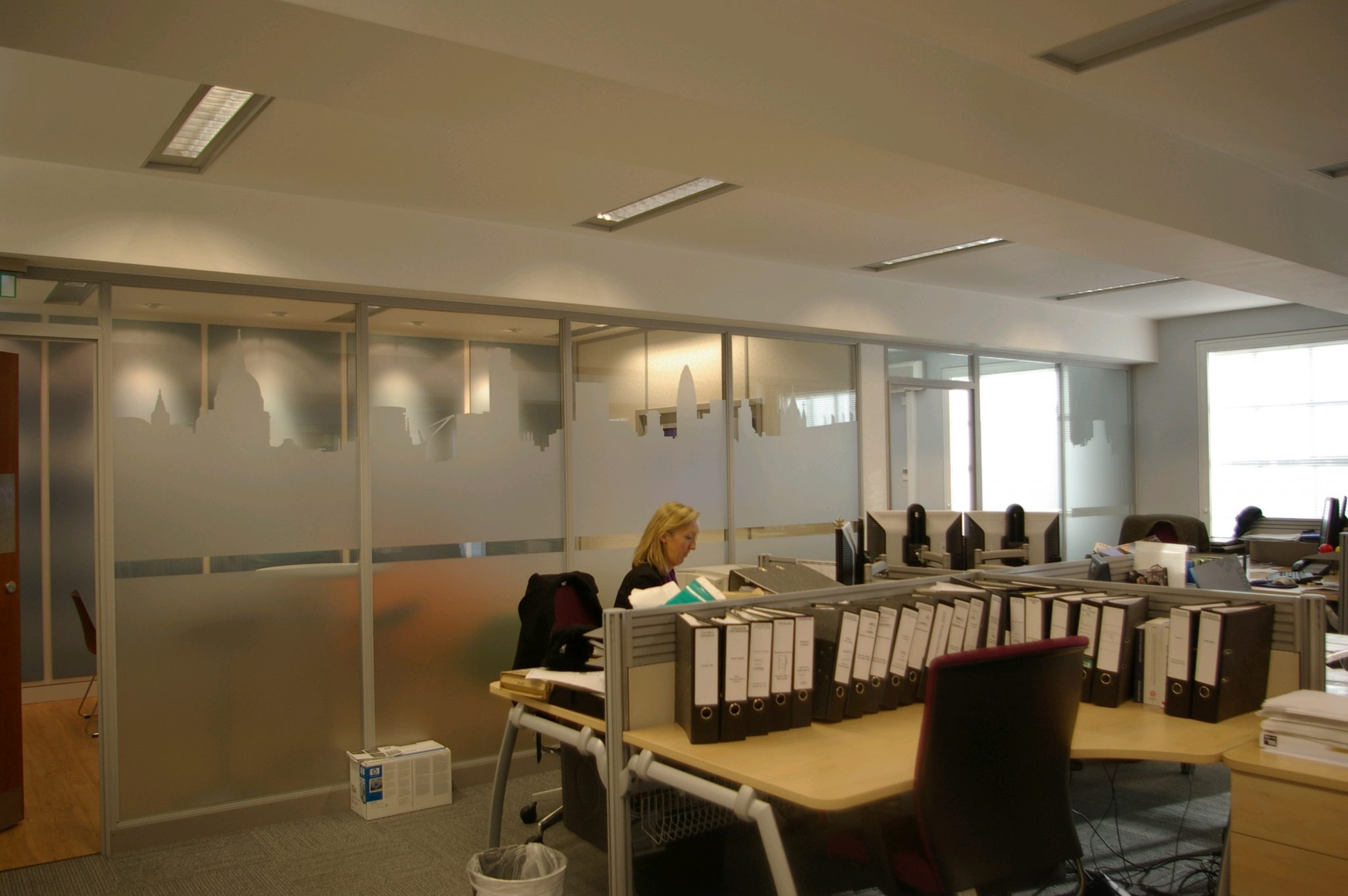 Internal Signs , large wall murals, UV tinted window films , frosted vinyls - make your office a feng shui haven. www.e-signs.co.uk Call today for a quote