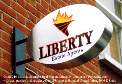 Liberty oval projecting Sign catches the eye of passers by & can be effective adverts for your business.Call today for a quote from E-Signs London.